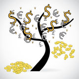 Concept of financial growth through an illustration with a tree Royalty Free Stock Photos