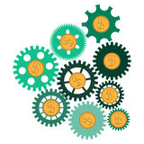 The concept of financial operations. Gears with coins Stock Photos