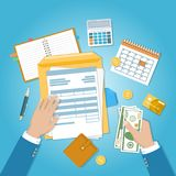 The concept of financial payment. Invoice, tax,bill paying. Human hands with documents, forms. Stock Photos