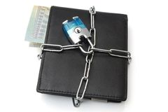 Concept of financial safety with wallet and chain.  Royalty Free Stock Images