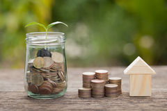 The concept of financial savings to buy a house. Stock Images