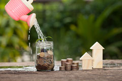 The concept of financial savings to buy a house. Stock Photo