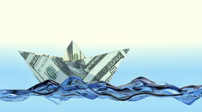 Concept of financial security. One paper boat made with dollar banknotes on a stylized water, concept of business and finance (3d render Stock Photos