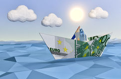 Concept of financial security. One paper boat made with euro banknotes on a calm sea and a bright sun, concept of finance security, low-poly style (3d render Stock Photos