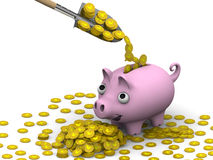 The concept of financial well-being (Coins with the symbol of the Japanese currency). Shovel fills a pink pig-piggy bank with gold coins with the symbols of the Stock Photo