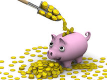 The concept of financial wellbeing. Shovel fills a pink pig-piggy bank with coins with gold the symbols of the US dollar. The three-dimensional illustration Stock Photos