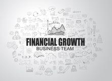 Concept financier de croissance avec le style de conception de griffonnage d'affaires Image stock