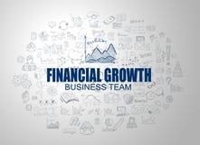 Concept financier de croissance avec le style de conception de griffonnage d'affaires Image libre de droits