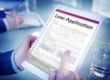 Concept financier de forme d'aide de demande de prêt Photos stock