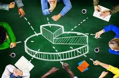 Concept financier de réunion de finances de questions d'affaires de graphique de tarte Photographie stock libre de droits