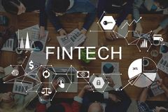 Concept financier de technologie d'Internet d'investissement de Fintech photographie stock
