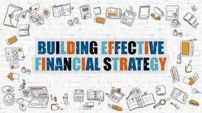 Concept financier efficace de construction de stratégie avec la conception de griffonnage Image stock