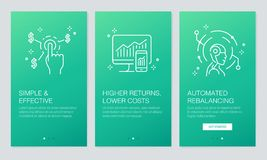 Concept financier et de Fintech onboarding des écrans d'APP La revue du projet moderne et simplifiée d'illustration de vecteur ex Photos stock
