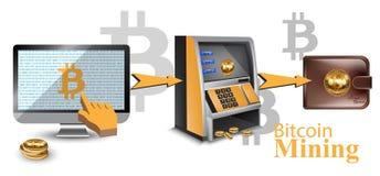 Concept financier réaliste de transferts d'argent de cryptocurrency de bitcoin de vecteur de Digital Distributeur automatique de  illustration de vecteur