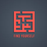Concept of find yourself with maze. Modern trendy eps10 vector illustration Stock Photography