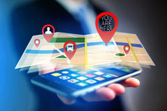 Concept of finding favorites places on an online map - Technolog. Concept view of finding favorites places on an online map - Technology concept Royalty Free Stock Image