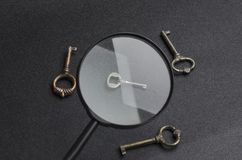 Concept of finding right,safe decision and solve the problem.Key is a symbol of great resolution stock image