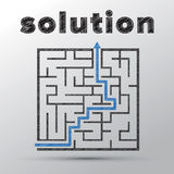 Concept of finding solution in complicated maze. Sketched concept of finding solution in complicated maze Stock Photography