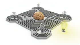 Concept of finding a solution difficult situation the brain is i Stock Photography