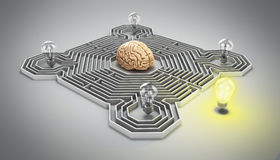 Concept of finding a solution difficult situation the brain is i. N a maze and light bulb at the entrance 3d render gradient Royalty Free Stock Photo