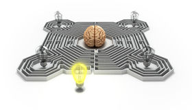 The concept of finding a solution difficult situation the brain. Is in a maze and light bulb at the entrance 3d render Royalty Free Stock Image