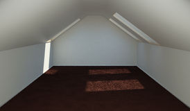 Concept finishing the attic rooms for accommodation. 3d illustration Stock Photography