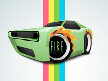Concept of fire with car wheels. Stylish car wheels with fire flame on colorful paper stripes Stock Images