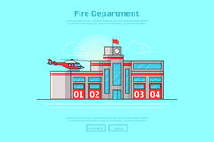 Concept of fire department. Color vector illustration in linear style with fire station building Royalty Free Stock Photos