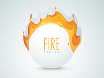 Concept of fire. Shiny sale sticker, tag or label with fire flame on grey background Royalty Free Stock Image
