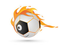 Concept of fire with soccer ball. Shiny American soccer ball in fire on white background Stock Photo