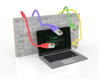 Concept of firewall and computer safety. One notebook with a login screen, a wall on background, and some network connectors, concept of firewall and hacker Royalty Free Stock Photos
