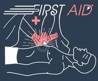 Concept of the first aid. Concept of the first medical aid to the patient, the indirect massage of the heart. banner in the linear style royalty free illustration