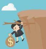 Concept fiscal de falaise de femme d'affaires Photographie stock libre de droits
