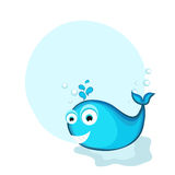 Concept of fish in blue color. Cute funny blue fish with blank frame for your text on white background Stock Images