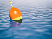 Concept of fishing. One float for fishing on the water 3d render Royalty Free Stock Photography