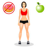 Concept with fit young woman in sportswear. Beautiful sports girl. Useful and harmful food. Vector illustration isolated. Concept with fit young woman in Stock Image
