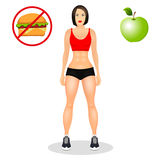 Concept with fit young woman in sportswear. Beautiful sports girl. Useful and harmful food. Vector illustration. Concept with fit young woman in sportswear Royalty Free Stock Images