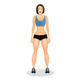 Concept with fit young woman in sportswear. Beautiful sports girl. Woman with a sporty physique. Vector illustration Stock Photography