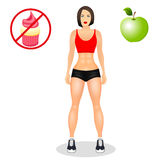 Concept with fit young woman in sportswear. Beautiful sports girl. Woman with a sporty physique. Vector illustration Royalty Free Stock Photography