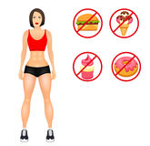 Concept with fit young woman in sportswear. Useful and harmful food. Woman with a sporty physique. Vector illustration Stock Image