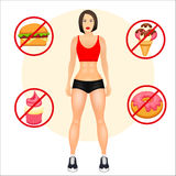 Concept with fit young woman in sportswear. Useful and harmful food. Woman with a sporty physique. Vector illustration Royalty Free Stock Photos