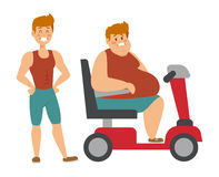 Concept fitness weight loss fat man and thin sports guy, fatman on a diet with transportation truck. Royalty Free Stock Photography