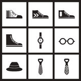 Concept flat icons in black and white Men's Accessories. Concept flat icons in black and white  Men's Accessories Royalty Free Stock Image