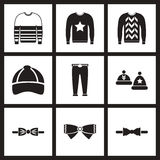 Concept flat icons in black and white men wear. Concept flat icons in black and white  men wear Royalty Free Stock Photo