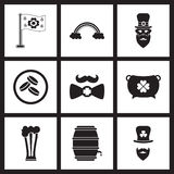 Concept flat icons in black and white St. Patrick's Day Royalty Free Stock Photography