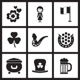 Concept flat icons in black and white St. Patrick's Day Stock Photo