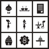 Concept flat icons in black and white women Day royalty free illustration