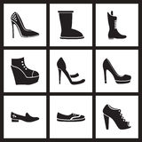 Concept flat icons in black and white women's shoes. Concept flat icons in  black and white women's shoes Stock Image