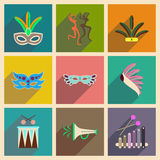 Concept of flat icons with long shadow Brazilian Carnival. Flat icons with long shadow Brazilian Carnival Royalty Free Stock Photos