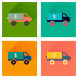 Concept flat icons with long shadow car transportation money Royalty Free Stock Photo